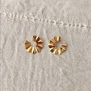 Vintage Gold Sun Fan Crinkle Earrings